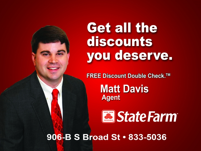 <p><b>Matt Davis</b> - Agent / Clinton, South Carolina</p>  <p>  State Farm Insurance Companies®</p>